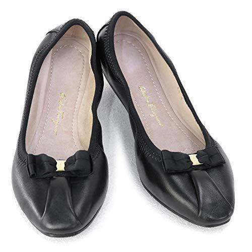 [SALVATORE FERRAGAMO] [サルヴァトーレ フェラガモ] 靴 レディース リボン バレリーナシューズ フラットシューズ パンプス ブラック (MY JOY 0709571 NERO) 21SS (ブラック, 7Cサイズ) [並行輸入品]