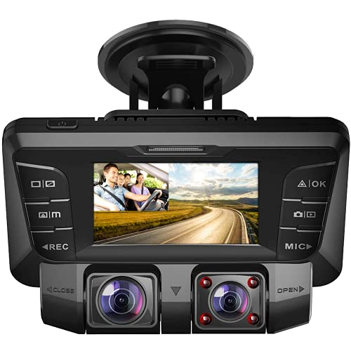 Pruveeo C2 1080P Dual Dash Cam 2.7 inch LCD with Infrared Night Vision,G-Sensor, Dual Front and...