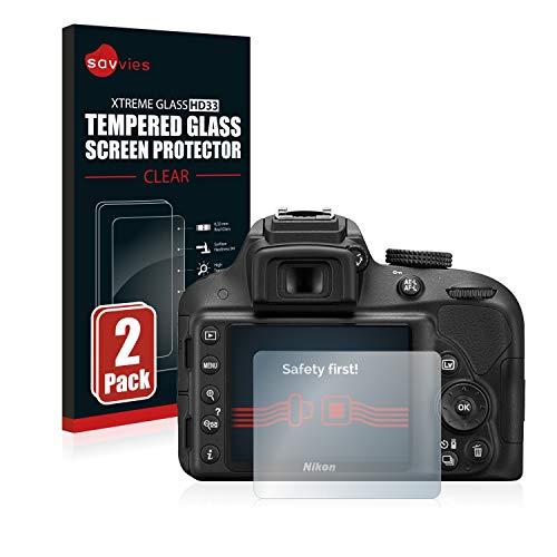 Savvies Panzerglas kompatibel mit Nikon D3300 (2 Stück) - Echt-Glas, 9H Festigkeit, Anti-Fingerprint