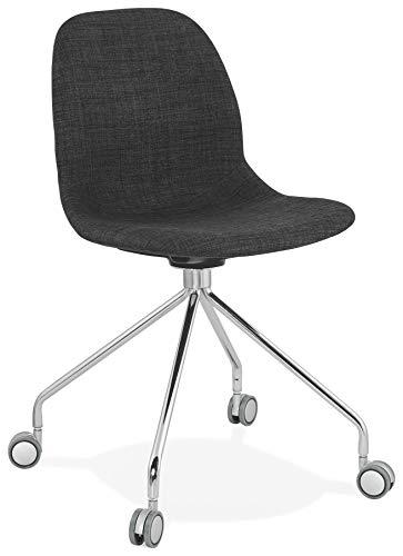 HJÜL - Silla con ruedas (tejido gris oscuro de escritorio con patas de metal cromado)