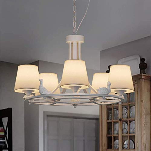 E27 Living Room Pendant Light Creative Resin Duck Decoration Hanging Lamp 5 Heads Iron Indoor Light White Fabric Lampshade Height Adjustable Chandelier for Bedroom Dining Room 62CM