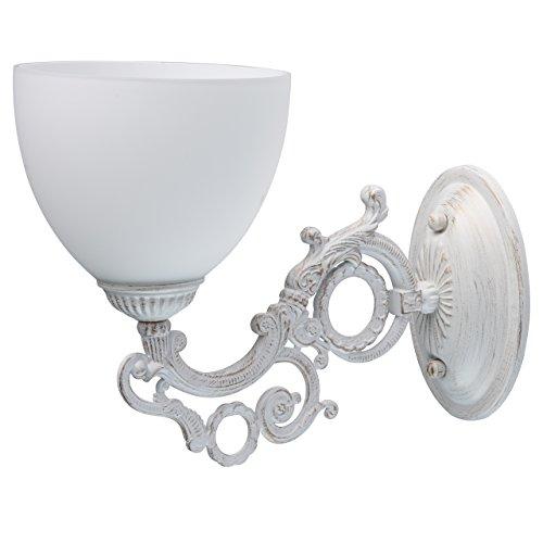 MW-Light 450026501 Shabby Chic Wandleuchte Weiß Glasschirm Klassisch Schlafzimmer
