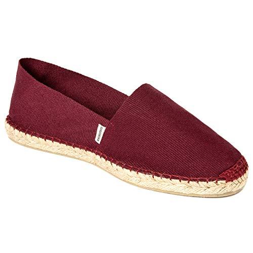 weltenmann Klassische Herren Slip-on Espadrilles aus Baumwolle mit Schuhbeutel, Vino, 44, Handmade in Spain