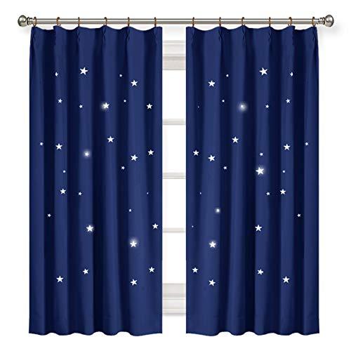 PONY DANCE カーテン 透かし彫り星 星柄 遮光カーテン 遮熱 おしゃれ 遮光 目隠し 幼稚園用 2枚セット ローヤルブルー 幅100丈178cm