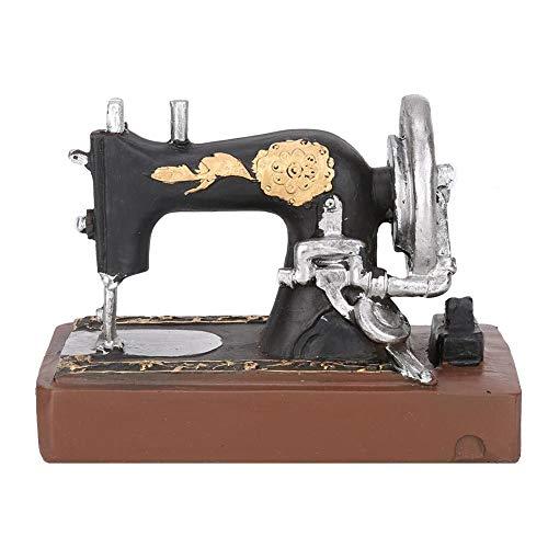 Adorno de máquina de coser, figura en miniatura modelo de máquina de coser de resina vintage para arte Craft Office Home Bar Decor 8,3 x 4,7 x 5,1 in