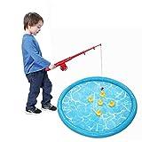 Giow Juguetes de baño Set Beach Toy, Sprinkler Pad Juguetes de Pesca Juegos de Juego de Peces flotantes Impermeables, para niños pequeños Inflatable Outdoor Party Toy Wading Pool