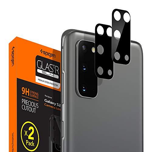 Spigen, 2 Stück, Kamera Schutzglas kompatibel mit Samsung Galaxy S20, Schwarz, Hüllenfreundlich, Anti-Kratzer, Kristallklar, Keine Störung für Blitzfunktion Schutzfolie (AGL01073)