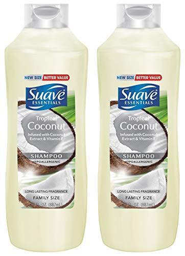 Suave Essentials Shampoo - Tropical Coconut - Family Size - Net Wt. 30 FL OZ (887 mL) Per Bottle - Pack of 2 Bottles