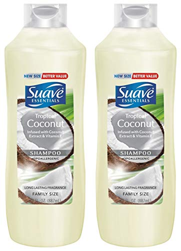 Suave Essentials Shampoo - Tropical Coconut - Family Size - Net Wt. 30 FL OZ (887 mL) Per Bottle - Pack of 2 Bottles