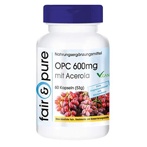 OPC 600mg mit Acerola - vegan - hochdosierter Traubenkernextrakt mit natürlichem Vitamin C - ohne Magnesiumstearat - 60 OPC-Kapseln
