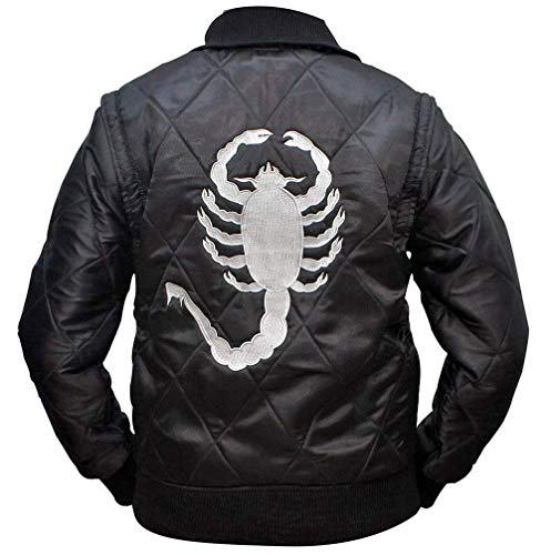 e Genius Mens Drive Scorpion Ryan Gosling Bomber Satin Movie Jacket, Black, L