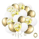 Globos de Confeti Oro, Globo de Látex Blanco de 12 pulgadas con Cinta Dorada para la Graduación del Cumpleaños de la Boda Decoración Nupcial de la Fiesta de(50 piezas)