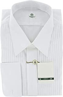 New Luigi Borrelli White Solid with Pleated Bib Full Tuxedo Shirt
