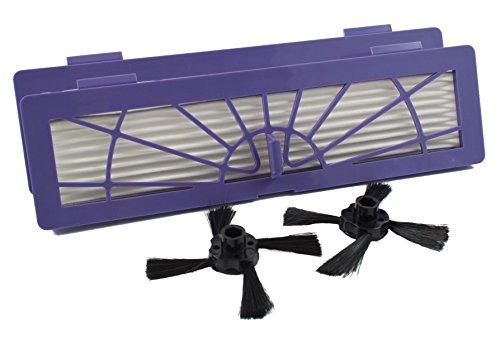 Hannets Kit de rechange de qualité supérieure compatible avec Neato Botvac 2 brosses latérales et 2 filtres HEPA I Neato Botvac Robot aspirateur I Botvac Série D et E Set d'accessoires n° NBV-2HF-2SB