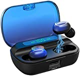 Wireless Earbuds, Headphones Headset Bluetooth 5.1 HiFi with Deep Bass, AMATAGE Touch Control TWS Stereo Earphones with Smart LED Display, 3500mAh Charging Case (Blue)