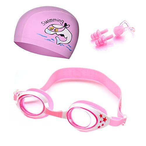 Gafas de natación para niños Gafas de natación para niños con dibujos animados, tapones para los oídos, gafas profesionales de delfín para niño, impermeables, gafas de piscina (color: rosa)