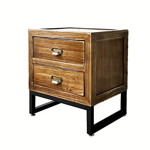 Bureau DD nachtkastje, Vintage massief hout slaapkamer nachtkastje, industriële stijl laden, ijzeren zijtafel, met 2 lades -werkbank