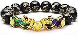 AVASAGS Feng Shui Black ossidian PI XIU Bracciale unisex oro cinese con amuleto intagliato a mano nero per prosperità e felicità (B-nero)