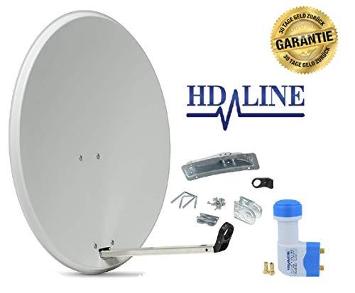 HD-LINE Satellitenschüssel Set - Sat Aglage Digital Komplett Set - Sat Anntenne Schüssel - Twin Lnb und Montagezubehör und Lnb F Stecker