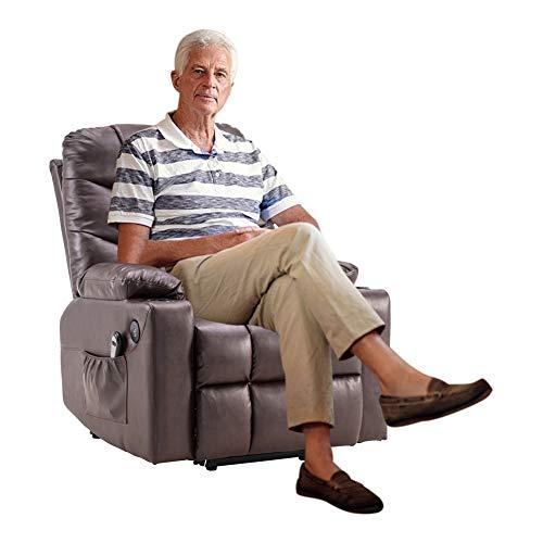 AIBOOSTPRO Kortex Massagestuhl, Elektrisch Aufstehhilfe Fernsehsessel Relaxsessel Massage Heizung elektrisch verstellbar mit Getränkehalter mit Massagegürtelheizfunktion