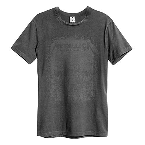 Amplified Metallica-The Black Album Camiseta, Gris (Charcoal CC), S para Hombre
