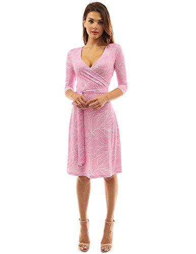 PattyBoutik Damen geometrisches Faux wrap Sonnenkleid mit V-Ausschnitt (rosa und weiß M 40)