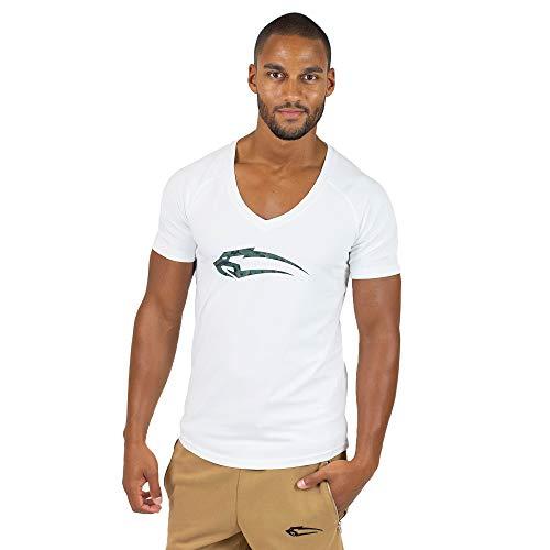 SMILODOX T-Shirt Herren mit V-Ausschnitt   Camouflage V-Neck für Sport Fitness Gym & Freizeit   Slim Fit Freizeitshirt - Camo Shirt mit Aufdruck & kurzen Ärmeln, Farbe:Weiß, Größe:L
