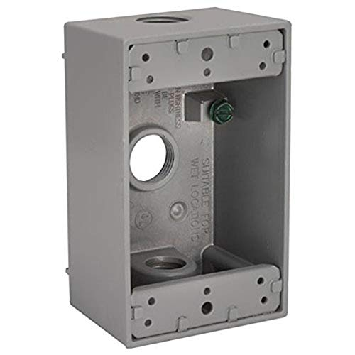 Hubbell-Bell 5324-0 Single-Gang Weatherproof Box Three 3/4 in. Threaded Outlets, Gray Finish