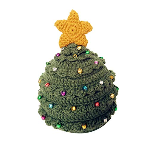 GOKOMO Erwachsene Männer und Frauen Winter Hut Wollhut Winterurlaub Weihnachtsbaum Sterne Männer und Frauen häkeln Hüte Sterne grün(A)