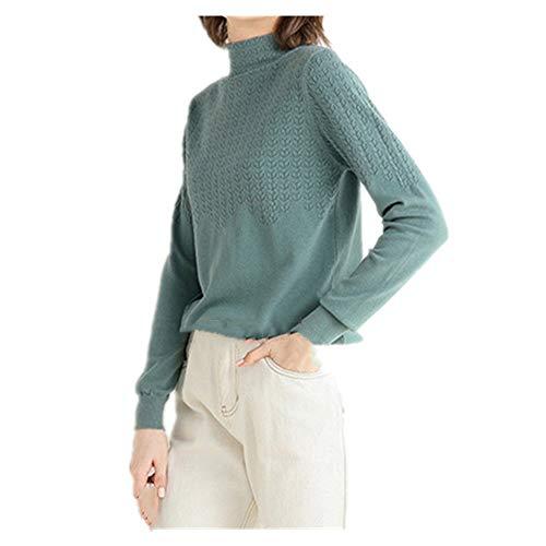 U/A Suéter de las Mujeres de Otoño e Invierno Medio Cuello Alto Suelto Color Sólido Top de Lana Suéter Suéter Suéter