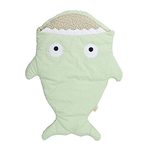 Sacco a pelo neonato, Lemonda bambino sacco a pelo cotone a forma di squalo, morbido e comodo, coperta per divano e letto, sacco a pelo pesce per Passeggino (Verde)