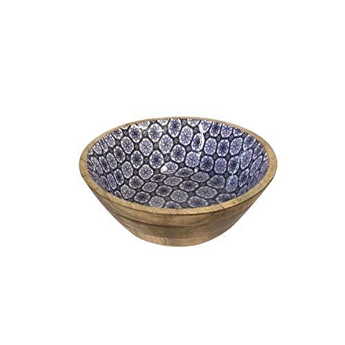 casamia Müslischale Dipschale Deko Schale ø 12 cm Mangoholz mit Keramikdekor lebensmittelgeeignet Farbe blau/weiß