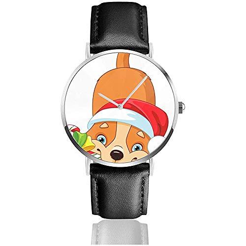 Hund mit Weihnachtsbonbon Herrenuhr Uhren für Damen Lederarmband Schwarz