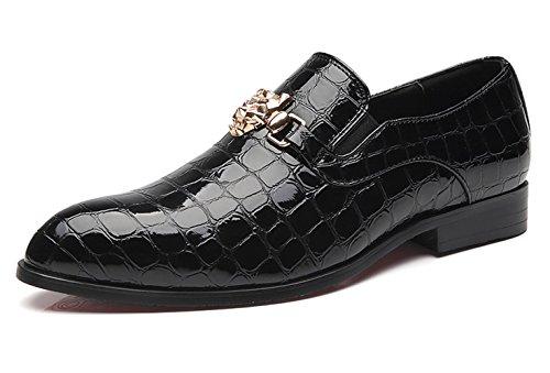 Santimon Loafers Men Italian Alligator Patent Leather Fashion Slip-on Shoes Metal Buckle Pointed Toe Smoking Slipper Moccasins Black 11 US