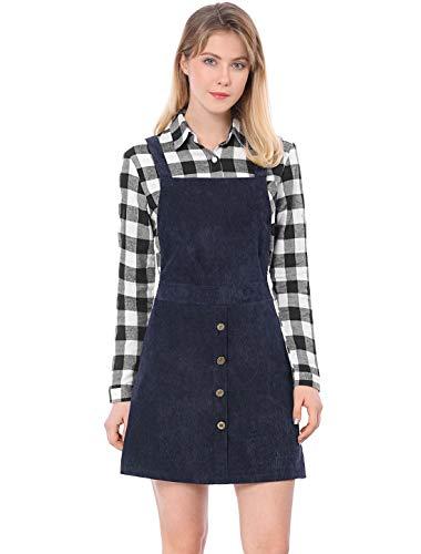 Allegra K Damen A Linie Button Dekor Cord Latzkleid Kleid Blau M