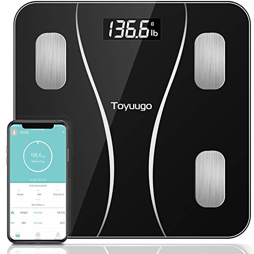 Toyuugo Bluetooth Body Fat Scale, Smart Wireless BMI Bathroom Weight Scale Body Composition Monitor Health Analyzer with Smartphone App for Body Weight, Fat, Water, BMI, BMR (Black)