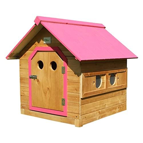 Casetas para perros Pet House Madera Maciza Rosa con Ventana Lateral Móvil Adecuada para Mascotas Pequeñas Y Medianas (Color : Pink, Size : M)
