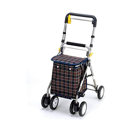 WJMLS Walker ancianos plegable portátil de la carretilla de 4 ruedas carro de compras con doble freno de la correa del tráfico con asiento plegable viejo multifuncional comestibles Carrito de la compr