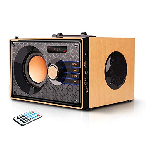 Portable Bluetooth Speakers with FM Radio Subwoofer Remote Control AUX USB, Clear Audio Rich Bass Wireless Home Desktop Speakers Stereo Sound Outdoor Party Speaker for Phone PC Tablet TV (Beech color)