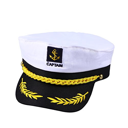 Amosfun Adult Yacht Boat Ship Sailor Captain Costume Hat Cap Navy Marine Admiral (White) Unisex