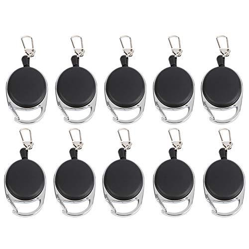 Dilwe Einziehbarer Schlüsselanhänger, 60cm Stahldrahtseil Ausziehbarer Rollenhalter Ausweishalter mit Metallclip für Ausweis im Außenbereich(10pc)