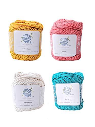 Tropical mindfulknits Hilo de tejer, hilo de ganchillo y hilo de algodón 100% para tejer, crochet,...