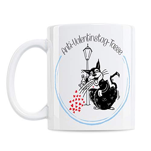 KenniKeller® Valentinstag Monty Tasse Mit Spruch, Valentinstag-Geschenk, Geschenkidee, Kaffee-Tasse, Coffee-Cup, Tassen mit Spruch, Lustig (Anti-Valentinstag-Tasse))