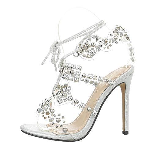 Ital-Design Damenschuhe Sandalen & Sandaletten High Heel Sandaletten Synthetik Silber Gr. 38