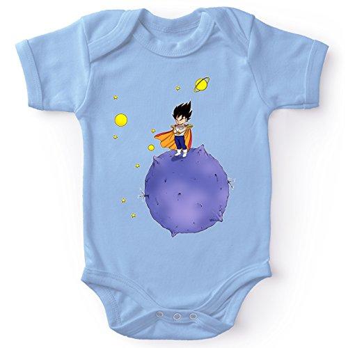 Okiwoki Body bébé Manches Courtes Garçon Bleu Parodie Dragon Ball Z - DBZ - Végéta - Le Petit Prince Saiyan(Body bébé de qualité supérieure de Taille 12 Mois - imprimé en France)