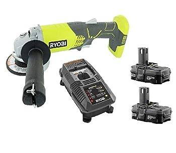 Ryobi 18v 4-1/2  Angle Grinder Tool P421 +  2  Batteries P102 + Charger P118  Bulk Packaged