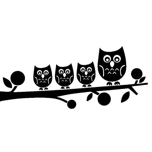 ZQZL Car Stickers 16.1CM * 6.8CM cute owl family tree branch vinyl car stickers