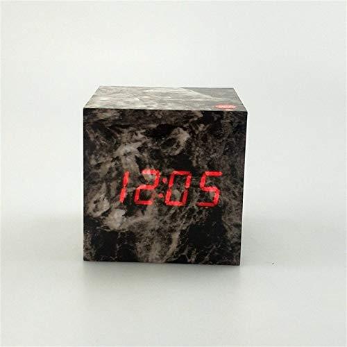 LQCN Cube Wood LED Alarm Clock Snooze Wooden Digital