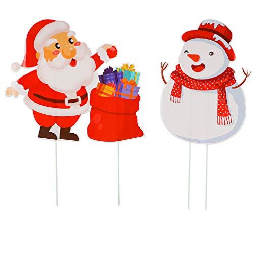 LUOEM 2 Stück Weihnachten Gartenstecker Weihnachtsmann Schneemann Dekostecker Gartenzaubereien Pflanzenstecker Gartenfigur Weihnachtsfigur Rasen Weihnachtsdeko Winterdeko Gartendeko