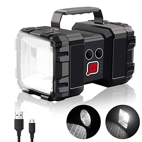 StillCool - Linterna de camping recargable (10000 mAh, 40 W, superbrillante, doble cabeza, portátil, de larga duración, salida USB, luz LED para senderismo, pesca, cortes de energía, emergencia